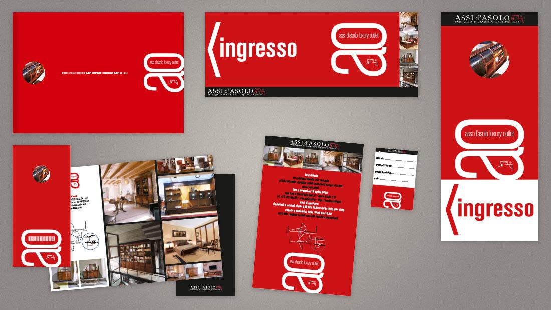 Outlet - Logo e immagine coordinata, cartellonistica, inserzioni pubblicitarie, cancelleria