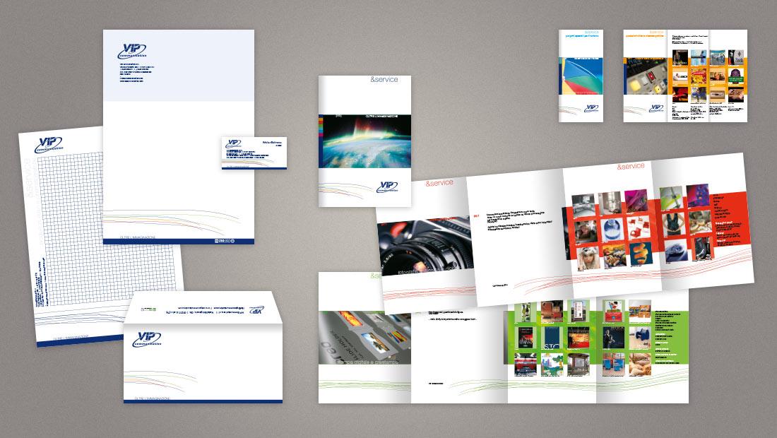 VIP communication - Logo, immagine coordinata: brochure, cartelline, cancelleria e pieghevole